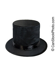 Black Top Hat - A black top hat for formal wear, over white