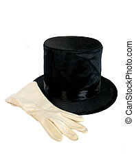 Top Hat and Gloves - A tall black Top Hat and White...