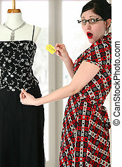 Over Priced - Beautiful young shopper shocked by dress price...
