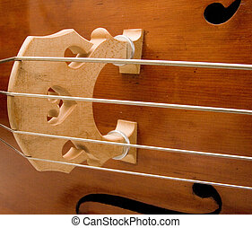 Double Bass Bridge - A closeup view of the strings and...