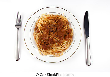 Spaghetti - A plate of spaghetti in white background.