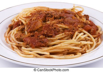 Spaghetti - Close up of spaghetti in isolated white...