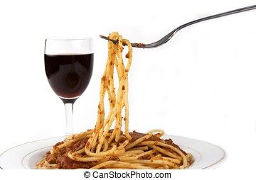 Spaghetti with red wine in isolated white background