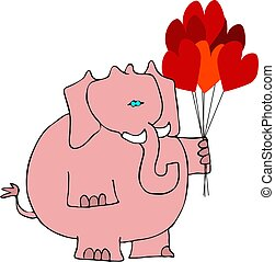 Valentines elephant - This illustration depicts a pink...