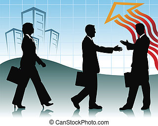 business - two businessman handshaking and one businesswoman...