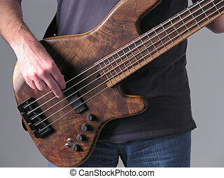 Bass guitar musician 1 - Bass guitar musician playing wood...