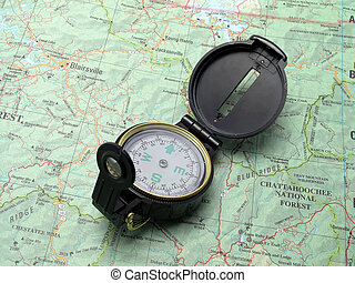 compass on topo map 2 - Open compass pointing North on...