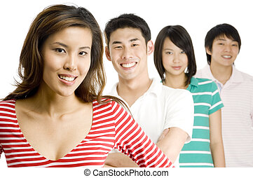 Four In A Line - Four good-looking asian men and women...