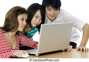 Computer Generation - Three young asian adults looking at a...