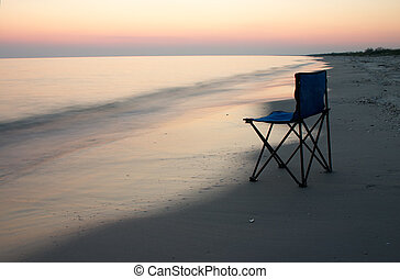 Camp-chair on the sea shore - Loneliness camp-chair on the...