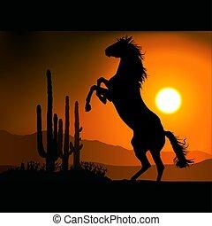 caballo, silueta, Un