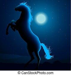 caballo, silueta, B
