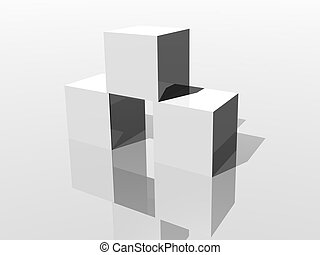 Dice - white cube on white background