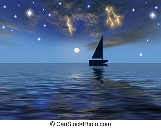 Astral boat - night and boat