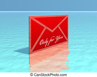 Letter - red letter on sea
