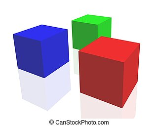 Color cube - color cube on mirror