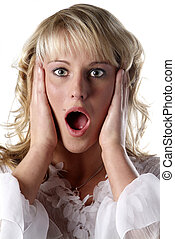 young woman appalled - young woman with open mouth and...