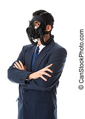Business as usual - man in blue suit with a gas mask on