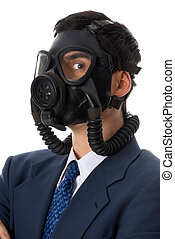 Gas mask - man in blue suit with a gas mask on
