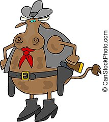 Cowboy - This illustration depicts a cow dressed in western...