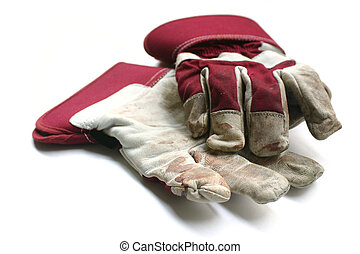 Used gardening / work gloves - Isolated image on white