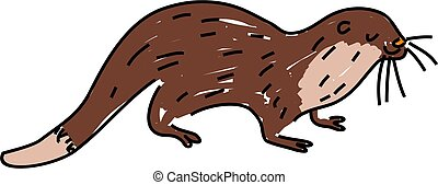 otter - a cute otter isolated on white drawn in toddler art...