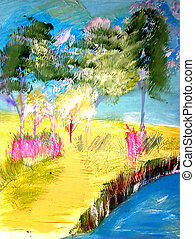 Whimsical Landscape - Acrylic landscape painted. I am the...