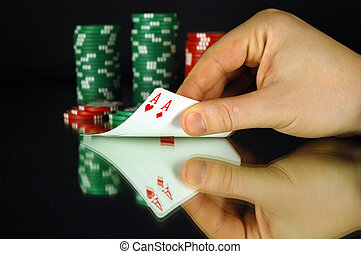 Pocket aces in a game of Texas Hold em