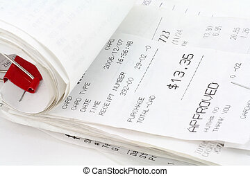 cash register receipt close up shot