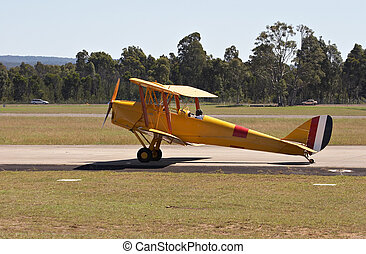 Bi-Plane on the runway