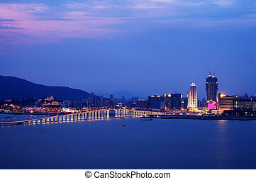 Night view of Macau - A night view of Macau city from Taipa...