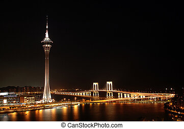 Macau night - The night view of Macau Tower Convention and...