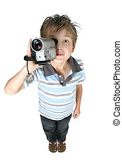 Video movies and pictures, easy and fun - A boy recording...