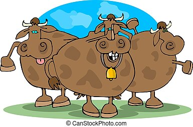 Cowering Cows - This illustration depicts three cows...