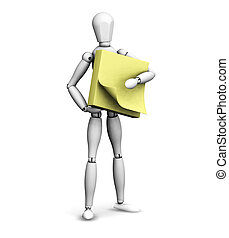Man holding post-it notes