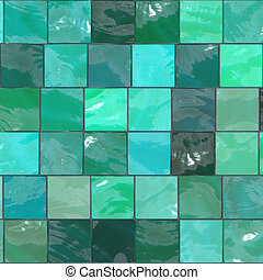 blue-green tiles - A blue/green tile background pattern.