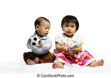 Happy children - A portrait of two children playing together
