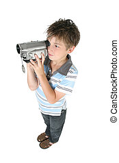 Standing boy using a digital video camera - Stamding boy...