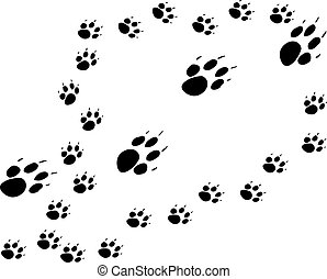 Mother and pups - design of mother dog and puppies paw...