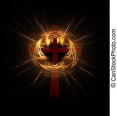 crucifixos, em, nuvem, de, luz
