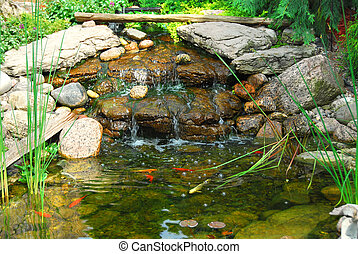 Pond - Natural stone pond as landscaping design element