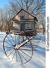 Log Cabin and Rake - Old Hay Rake and Palmer-Epard Cabin;...