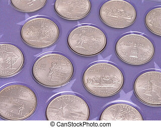 State Quarters displayed in blue commemorative booklet