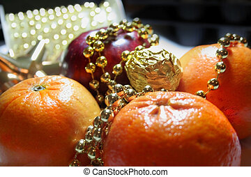 Party table - Party dinning table with oranges and apple