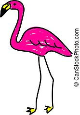 pink flamingo - a bright pink flamingo wading bird isolated...