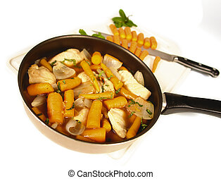 Rabbit stew - Rabbit or chicken stew with carrots in a...