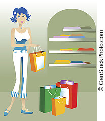 SHOPPER - One young woman shopping in a store with shopping...