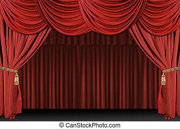 fase, teatro, cortina, fundo