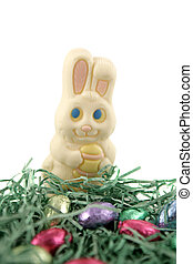 White Easter Bunny - A white chocolate easter bunny in a...