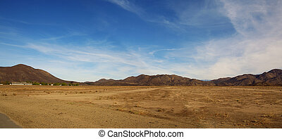 Desert Landscape Panoramic View of Mountains